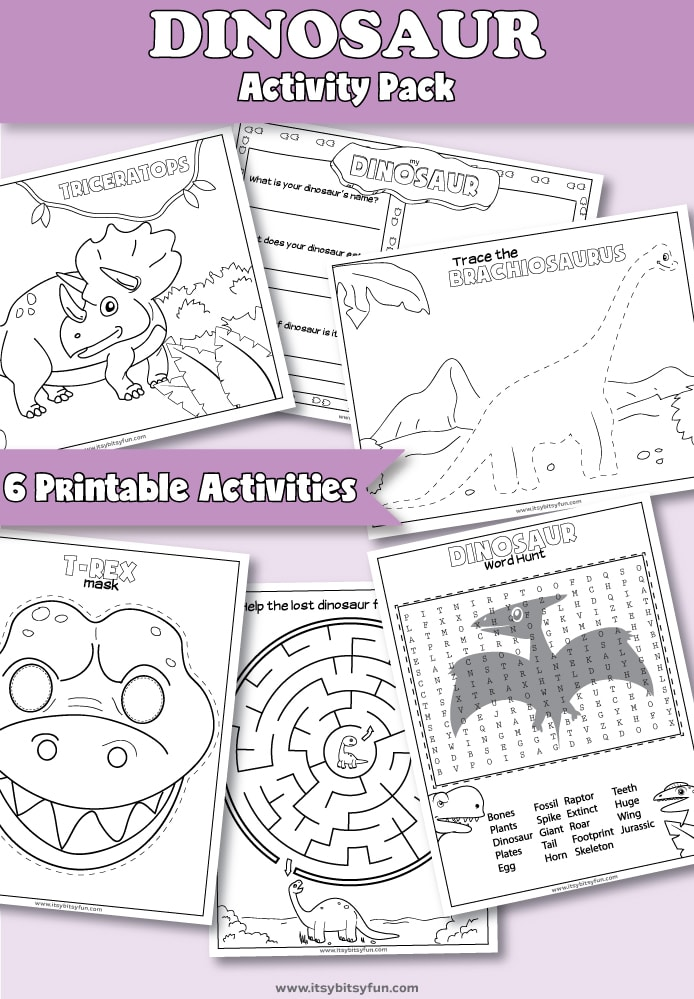 Printable Dinosaur Activities for Preschool. Fun dinosaur themed worksheets for kids. #preschoolworksheets #dinosaurprintables #freeprintables