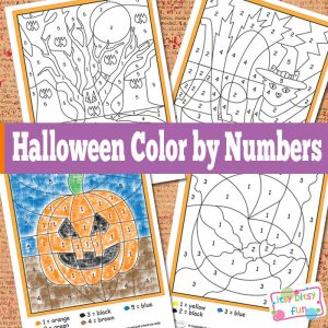 Halloween color by number worksheets.