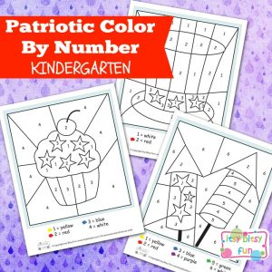 4th of July coloring by number worksheets for kids.