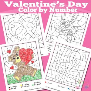 Valentines day coloring by number worksheets