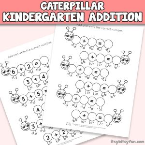 Caterpillar Kindergarten Addition Worksheets