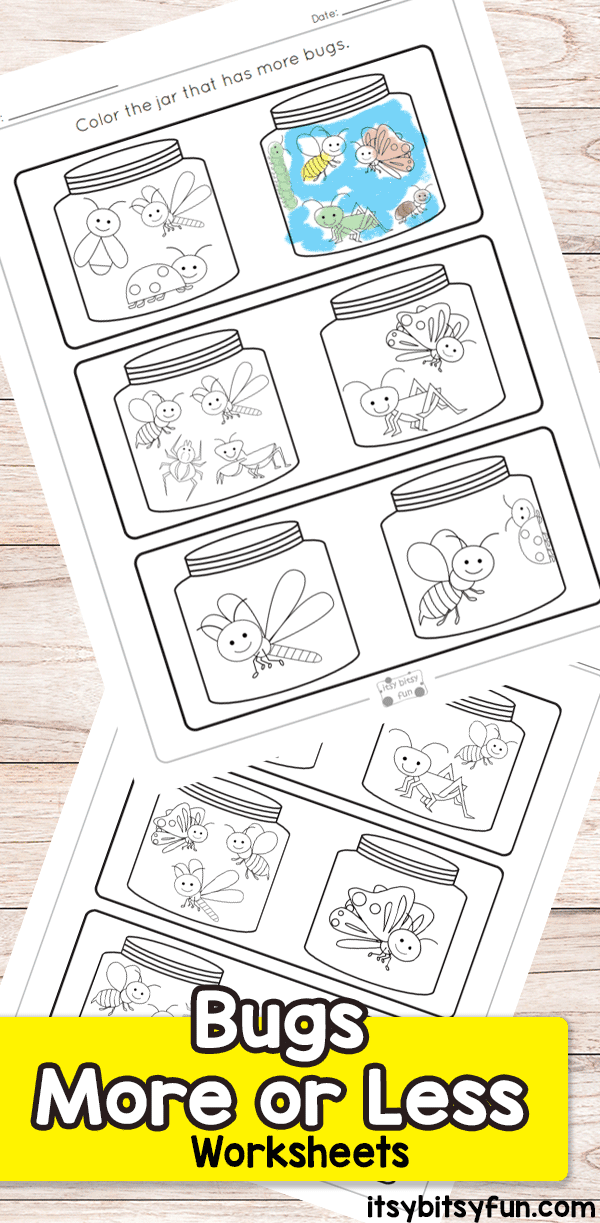 Bugs More or Less Worksheets