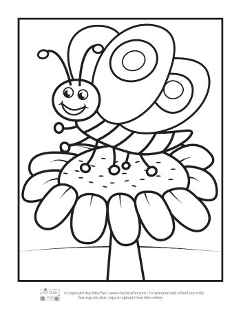 Butterfly on the Flower Coloring page for Kids