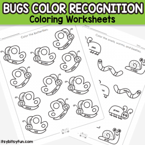 Bugs Color Coloring Worksheets – Color Recognition Activities