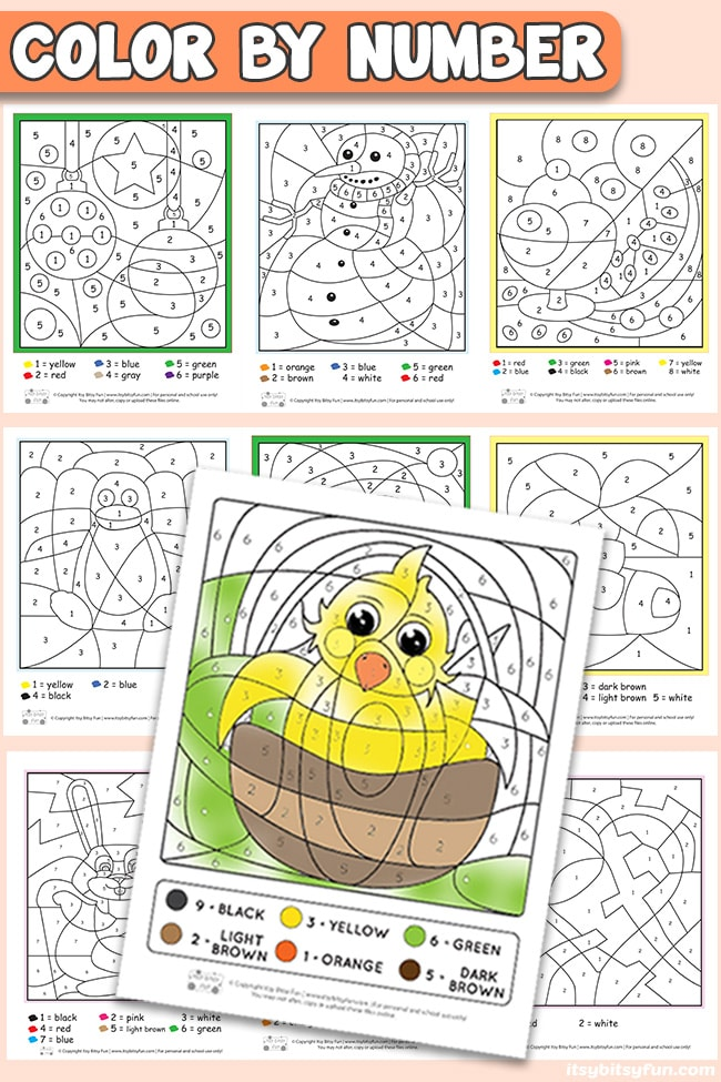 Free Printable Color By Number Worksheets - Itsybitsyfun.com
