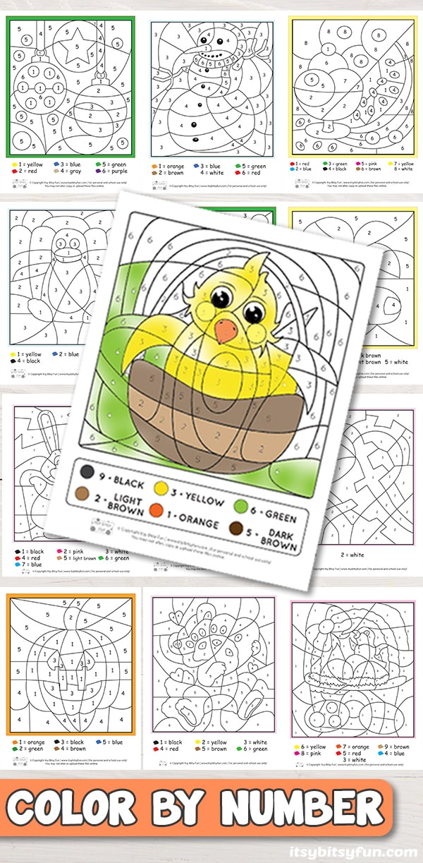 Free Printable Color by Number Worksheets - Itsy Bitsy Fun
