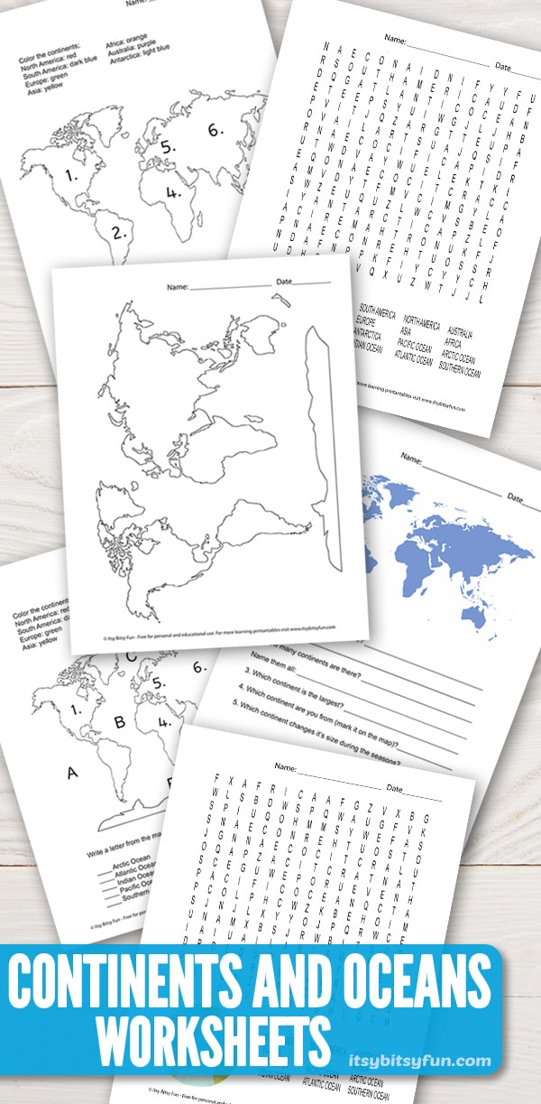 Continents and oceans worksheets. #continentsandoceans #worksheetsforkids #freeprintables
