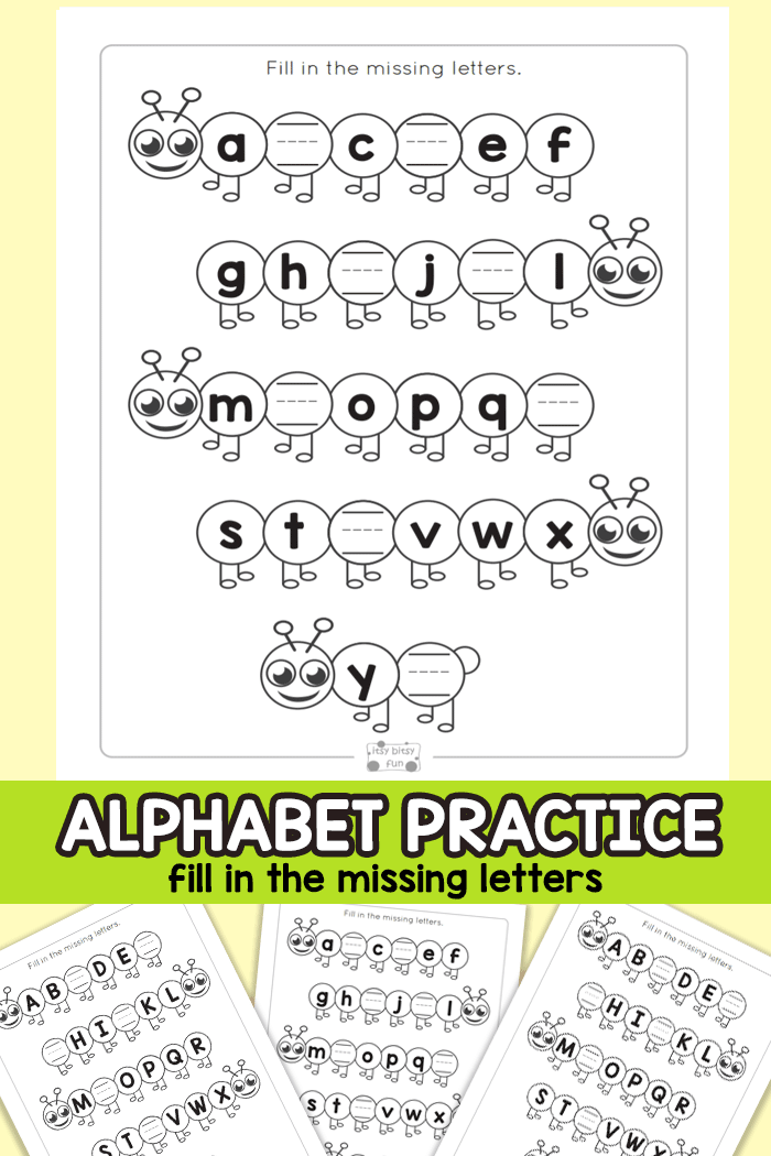 Find the Missing Letters of the Alphabet Worksheets