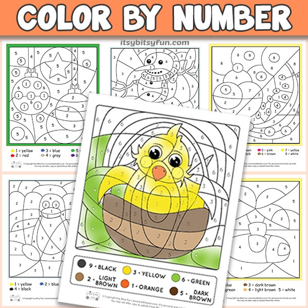 free printable color by number worksheets itsy bitsy fun