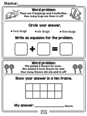 spring word problems addition to  worksheets  kindergarten and  kindergarten word problems
