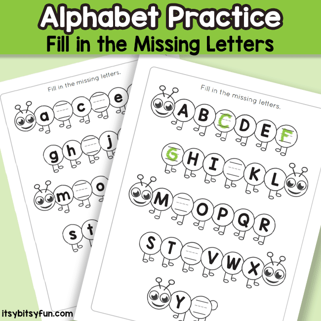 Missing Letters of the Alphabet Worksheets
