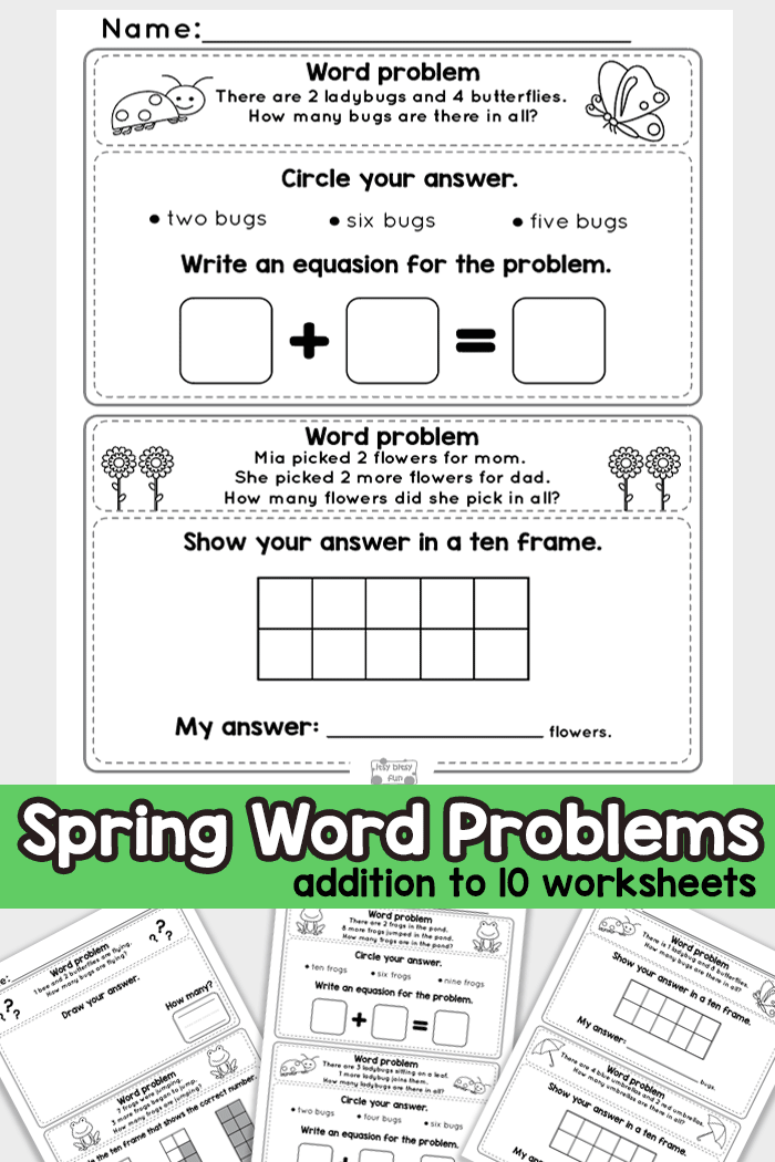 spring word problems addition to  worksheets  kindergarten and  practice addition to  with these kindergarten math word problems  worksheets