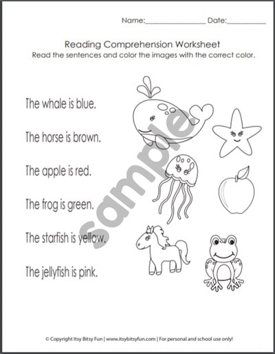 Kindergarten Reading Comprehension Worksheets - Itsybitsyfun.com