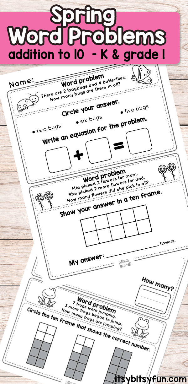 Spring Word Problems Addition to 10 Worksheets for Kindergarten and First Grade