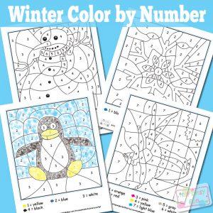 Winter color by number worksheets.