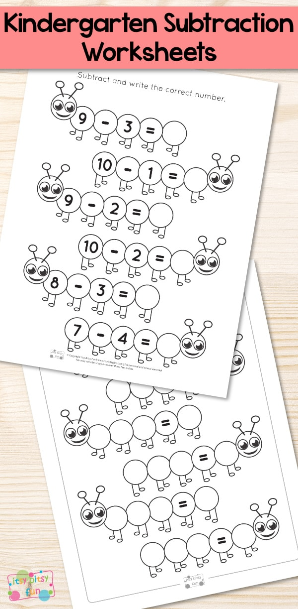 Caterpillar Kindergarten Subtraction Worksheets Itsy Bitsy Fun