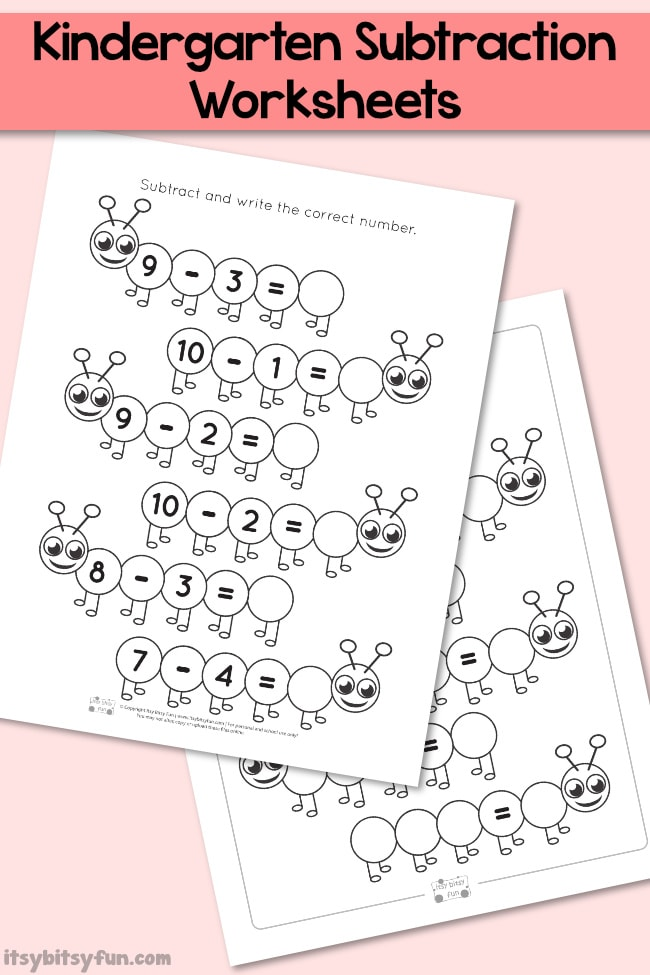 Caterpillar Kindergarten Subtraction Worksheets - Itsy Bitsy Fun