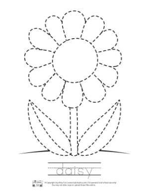 Daisy Tracing Coloring Page for Kids