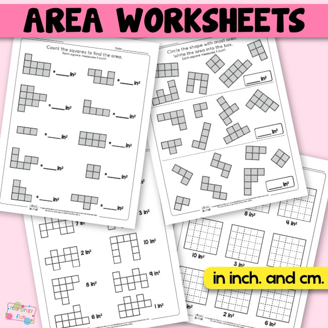 Area Worksheets 2nd Grade Math Worksheets Itsy Bitsy Fun