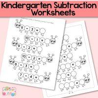 Caterpillar Kindergarten Subtraction Worksheets