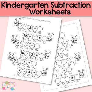 Caterpillar Kindergarten Subtraction Worksheets