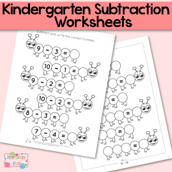 Caterpillar Kindergarten Subtraction Worksheets - Itsybitsyfun.com