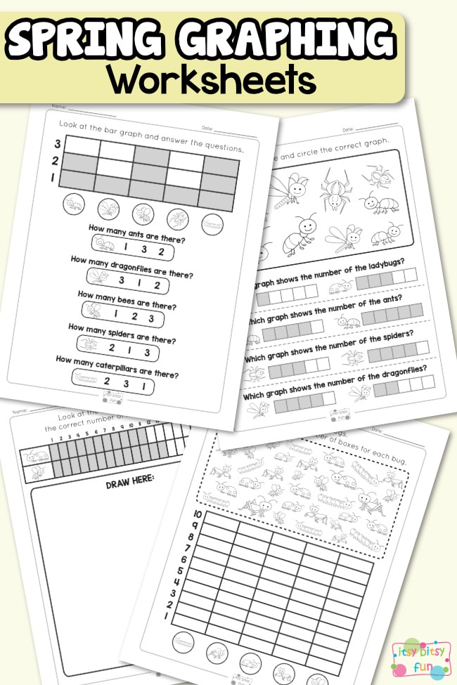 Spring Graphing Worksheets for Kindergarten and 1st Grade