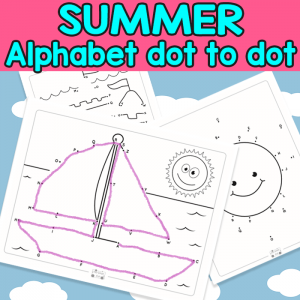Summer Alphabet Dot to Dot Worksheets