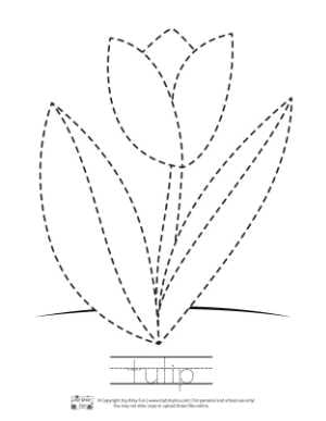Tulip Tracing Coloring Page for Kids