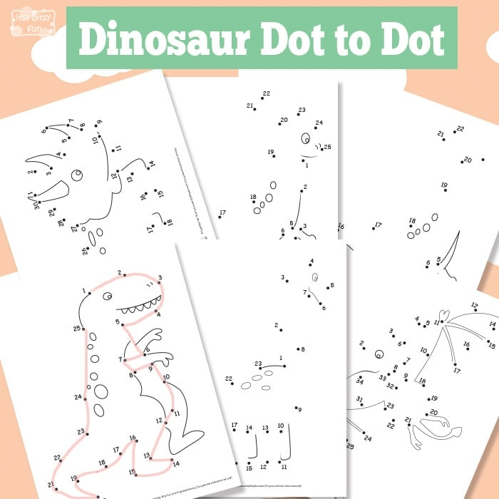 Dinosaurs Dot to Dot Worksheets