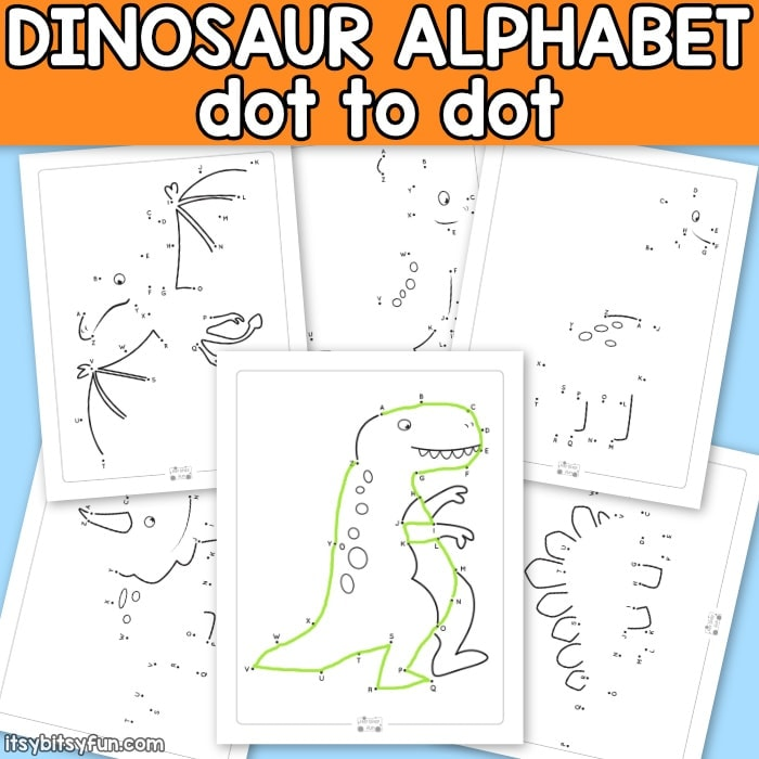 Dinosaur alphabet dot to dot printables for kids.