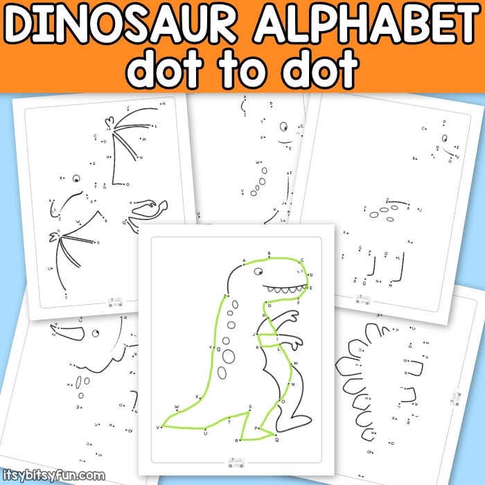 Alphabet Dinosaur Dot to Dot Worksheets