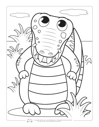 Crocodile coloring page for kids.