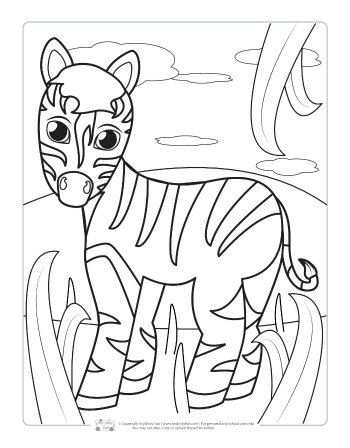 Zebra coloring page for kids.