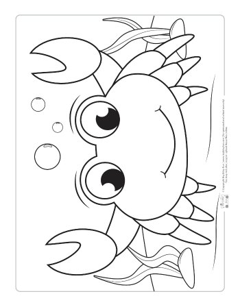 A crab coloring page for kids.