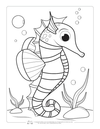A seahorse coloring page for kids.