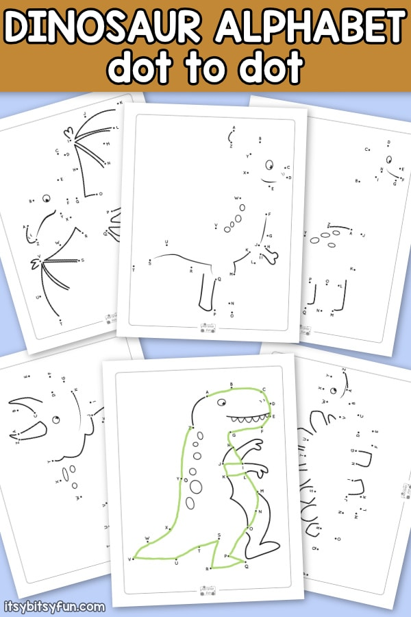 Dinosaur Alphabet Dot to Dot Worksheets. 6 fun connect the dots printables for kids.