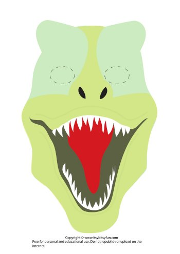 Printable Dinosaur Mask Template - T-Rex version 1