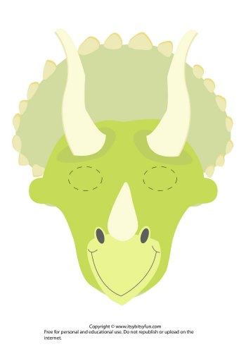 Charming Printable Dinosaur Mask Template   Triceratops Version 2