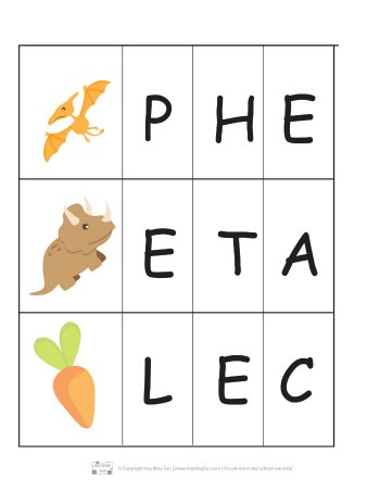 Dinosaur beginning letter activity.