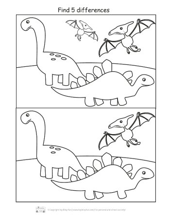 Dinosaur find the differences printable