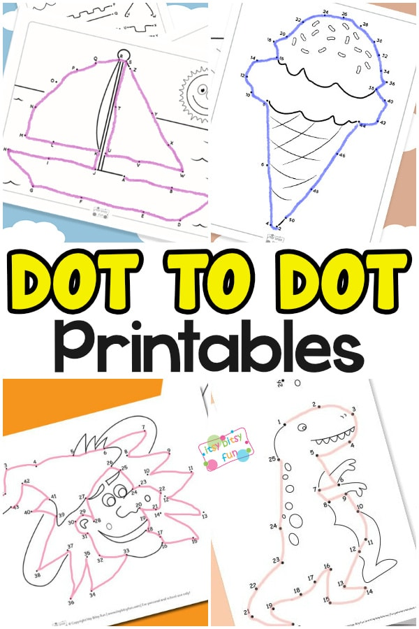 Dot to dot printable worksheets for kids.