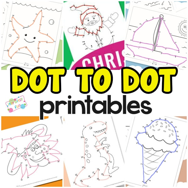 Dot to dot worksheets for kids.