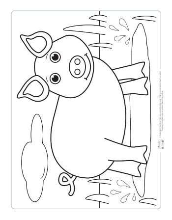 A pig coloring page for kids.