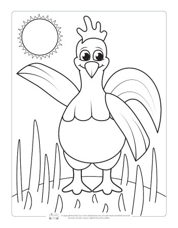 A chicken coloring page for kids.
