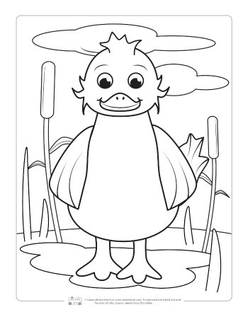A duck coloring page for kids.