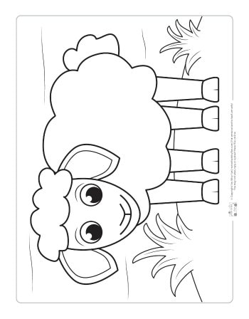 A sheep coloring page for kids.