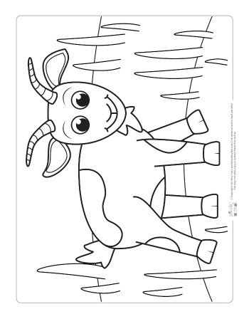 A goat coloring page for kids.