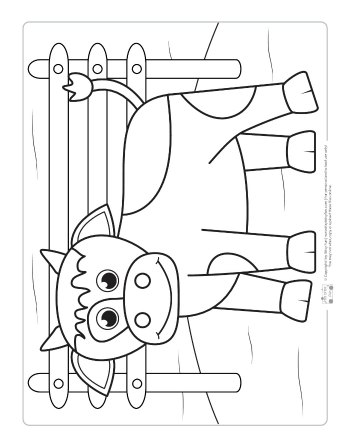 A cow coloring page for kids.