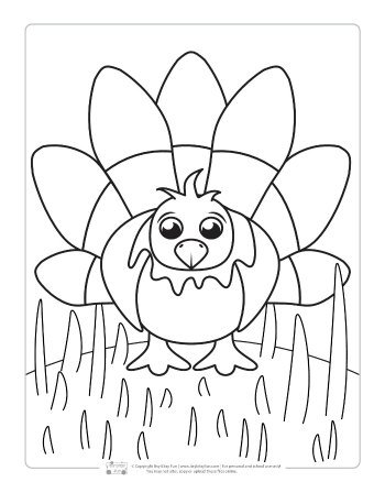 A turkey coloring page for kids.